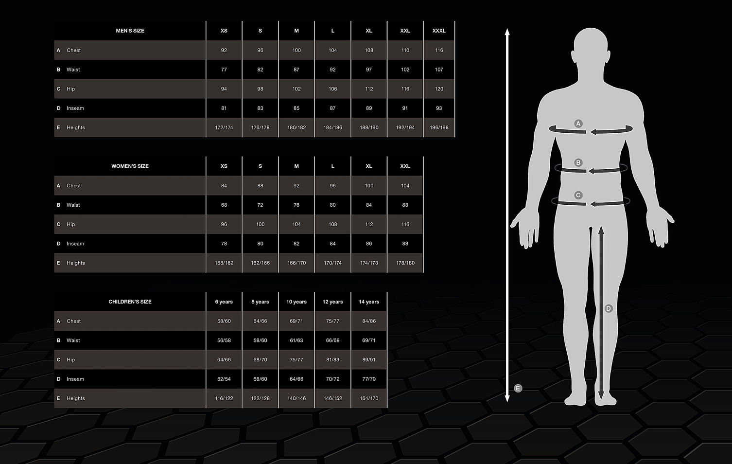 SIZE CHART FOR CLOTHING - SELECT